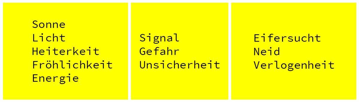 Farbe Gelb im Webdesign