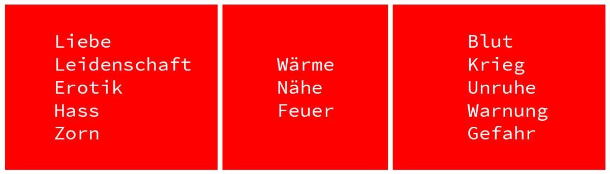 Webdesign Farbe Rot Bedeutung